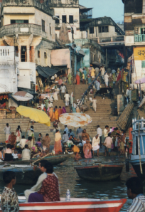 A scene on the Ganges river in Varanasi, India