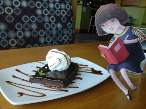 Flat Gladys finds a brownie. Yum.